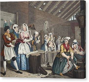 Working Dog Canvas Print - A Harlots Progress, Plate Lv Scene by William Hogarth