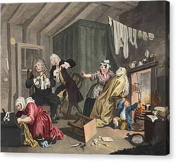 A Harlots Progress, Plate V Canvas Print by William Hogarth