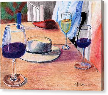 A Hat And Wine Canvas Print by William Killen