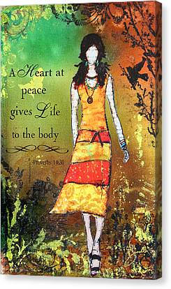 A Heart At Peace Inspirational Christian Artwork With Bible Verse Canvas Print by Janelle Nichol