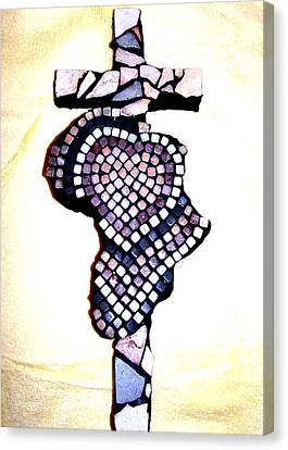 A Heart For Africa Cross Canvas Print