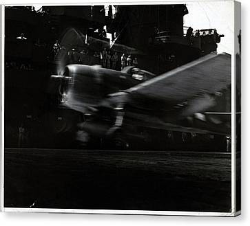 Aircraft Carrier Canvas Print - A Hellcat Airplane In Flight by Edward Steichen