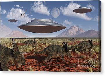 A Herd Of Centrosaurus Dinosaurs Walk Canvas Print by Mark Stevenson