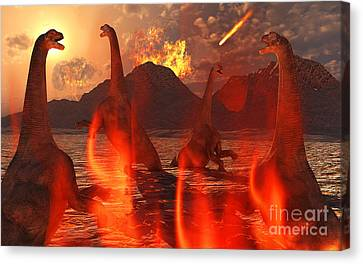 A Herd Of Dinosaurs Struggle Canvas Print