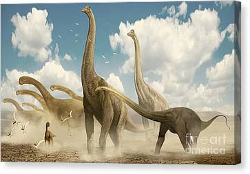 A Herd Of Sauropods Migrating Together Canvas Print