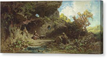 A Hermit In The Mountains Canvas Print by Carl Spitzweg