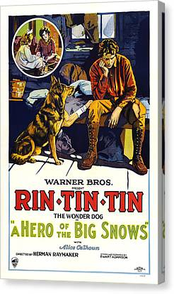 A Hero Of The Big Snows, Left Rin Tin Canvas Print