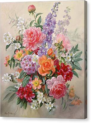 Pinks And Purple Petals Canvas Print - A High Summer Bouquet by Albert Williams