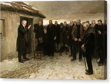 Sombre Canvas Print - A Highland Funeral by Sir James Guthrie