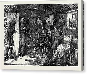 A Highland Shelter In A Storm Canvas Print by English School