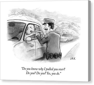 A Highway Police Officer Pulls Over And Plays Canvas Print by Jason Adam Katzenstein