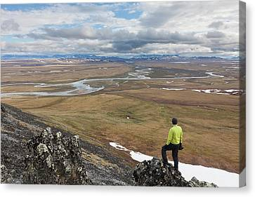 A Hiker Looks Over The Confluence Canvas Print