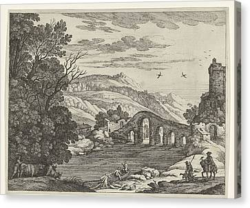 A Hilly Landscape Is Crossed By A River, Over The River Canvas Print by Willem Van Nieulandt (ii)