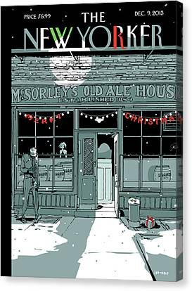 City Scenes Canvas Print - A Holiday Scene Outside The Bar Mcsorley's by Istvan Banyai