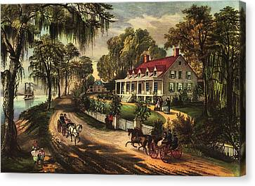 Red Roof Canvas Print - A Home On The Mississippi by Currier and Ives