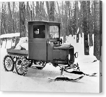 A Homemade Snowmobile Canvas Print