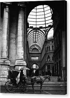 A Horse And Cart By The Galleria Umberto Canvas Print by Robert Randall