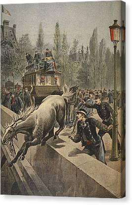 A Horse Committing Suicide Canvas Print by French School