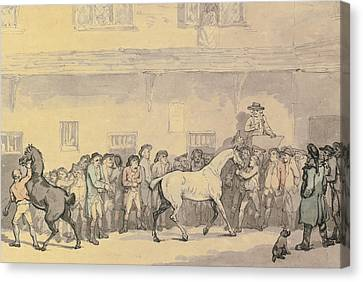 A Horse Sale At Hopkins' Repository Canvas Print by Celestial Images