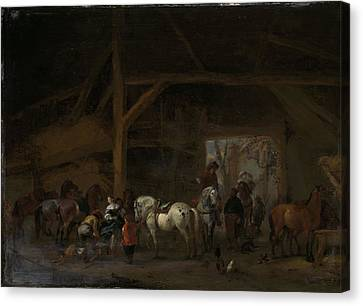 Horse Stable Canvas Print - A Horse Stable, Philips Wouwerman by Litz Collection