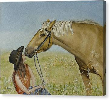 A Horses Gentle Touch Canvas Print by Kelly Mills