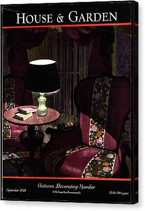 A House And Garden Cover Of A Lamp By An Armchair Canvas Print by Pierre Brissaud