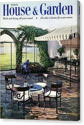 A House And Garden Cover Of A Terrace In East Canvas Print by Wiliam Grigsby