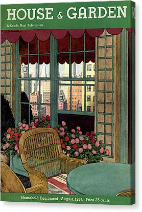 A House And Garden Cover Of A Wicker Chair Canvas Print by Pierre Brissaud
