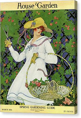 A House And Garden Cover Of A Woman Gardening Canvas Print