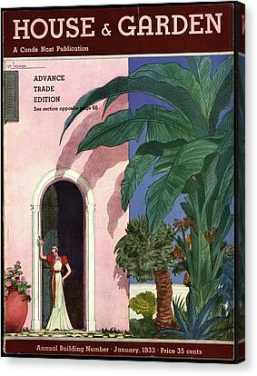 A House And Garden Cover Of A Woman In A Doorway Canvas Print by Georges Lepape