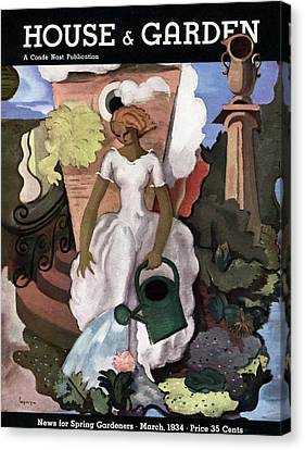Back Yard Canvas Print - A House And Garden Cover Of A Woman Watering by Georges Lepape