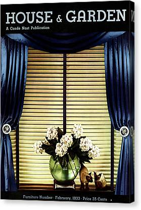 A House And Garden Cover Of Flowers By A Window Canvas Print by Anton Bruehl