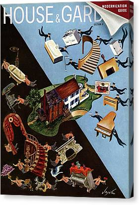 A House And Garden Cover Of People Moving House Canvas Print by Constantin Alajalov