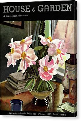 A House And Garden Cover Of Rhododendrons Canvas Print by David Payne