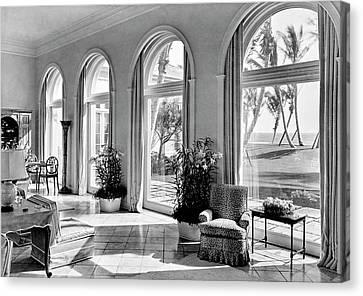 Florida House Canvas Print - A House In Palm Beach by Samuel H. Gottscho