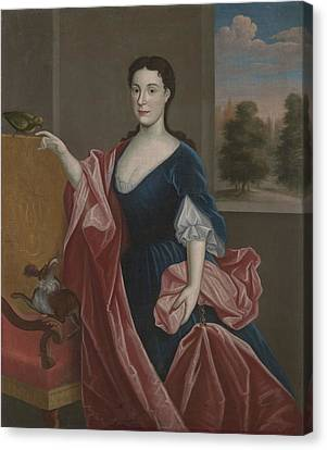 A Hudson Valley Lady With Dog Canvas Print by American School