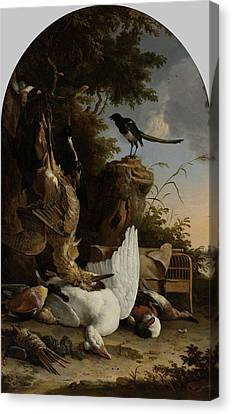 A Hunter's Bag Near A Tree Stump With A Magpie Canvas Print by Litz Collection