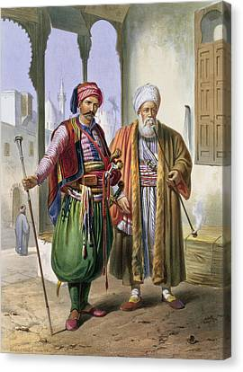 A Janissary And A Merchant In Cairo Canvas Print by Emile Prisse d'Avennes