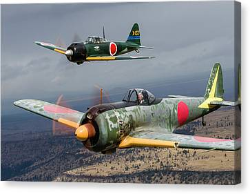 A Japanese A6m Zero And A Ki-43 Oscar Canvas Print