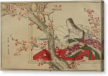 A Japanese Court Lady Admiring Plum Bloss Canvas Print by British Library