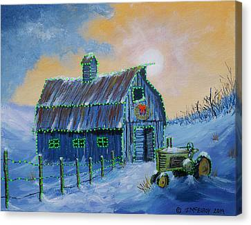 A John Deere Green Christmas Canvas Print by Jerry McElroy