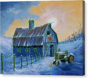 A John Deere Green Christmas Canvas Print