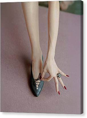 Tying Shoe Canvas Print - A Julianelli Shoe by Richard Rutledge