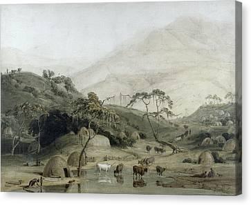A Kaffir Village, C.1801 Wc & Graphite On Paper Canvas Print by Samuel Daniell