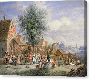 A Kermesse On St. Georges Day Canvas Print by Angel-Alexio Michaut