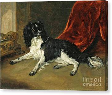A King Charles Spaniel By A Fireplace Canvas Print by Richard Ramsay Reinagle