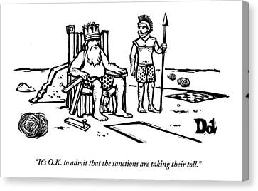 A King Sits Outside In His Boxers On A Wooden Canvas Print by Drew Dernavich