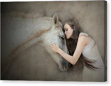 Embrace Canvas Print - A Kiss by Olga Mest
