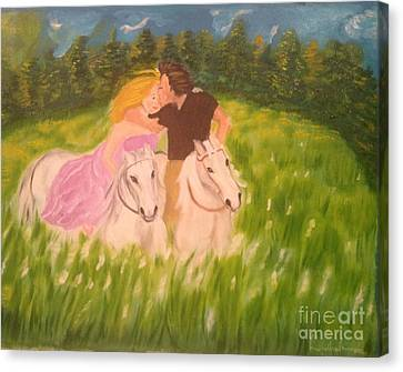 Canvas Print featuring the painting A Kiss - On Horseback by Brindha Naveen
