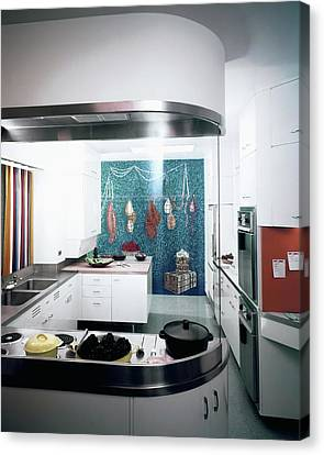 A Kitchen Designed By Valerian S. Rybar Canvas Print by John Rawlings